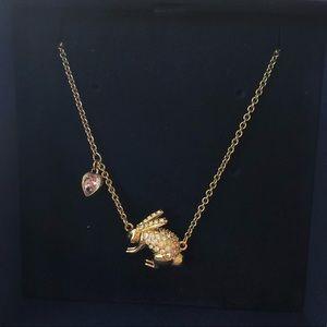 Swarovski rabbit pendant necklace with box & tag!